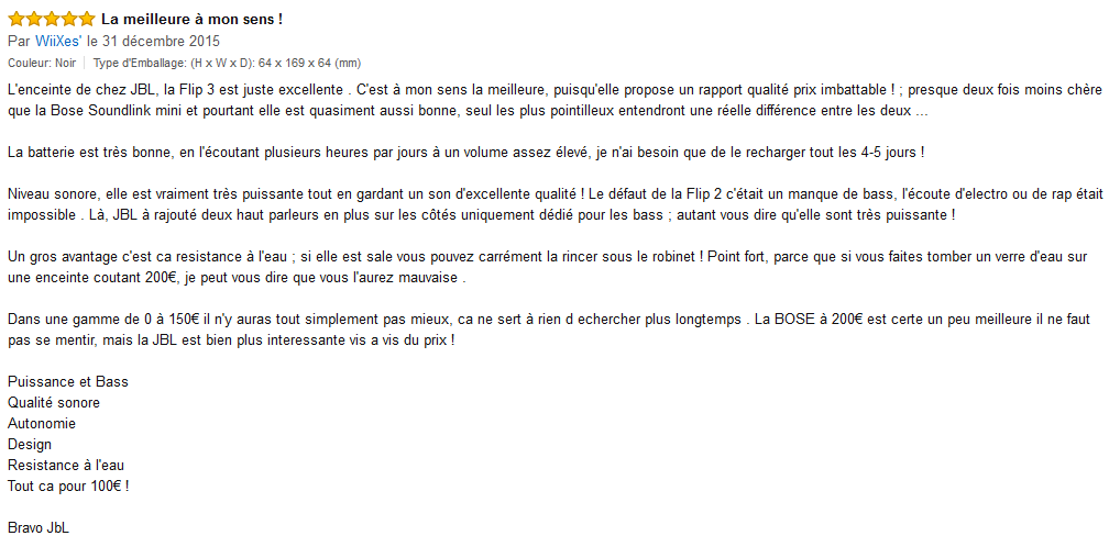 Commentaire client Amazon JBL Flip 3
