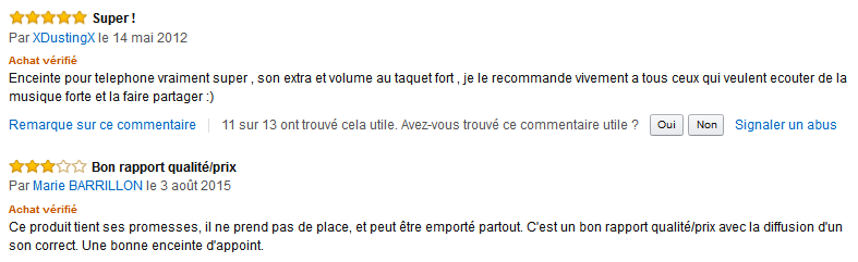 Amazon commentaier avis client test eSecure enceinte portable