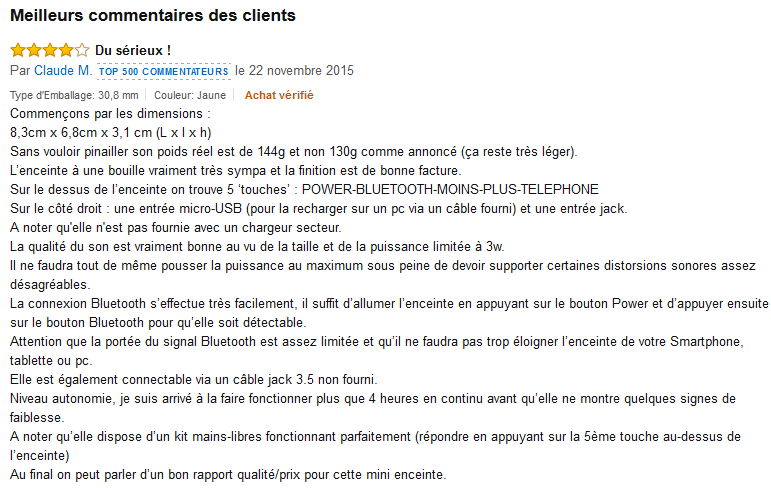 JBL GO commentaire client Amazon