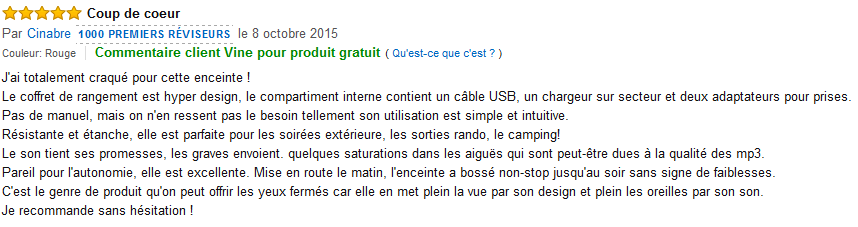 Commentaire client amazon.fr UE Boom 2