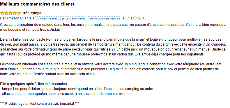 VTIN Rocker enceinte portable commentaire client amazon