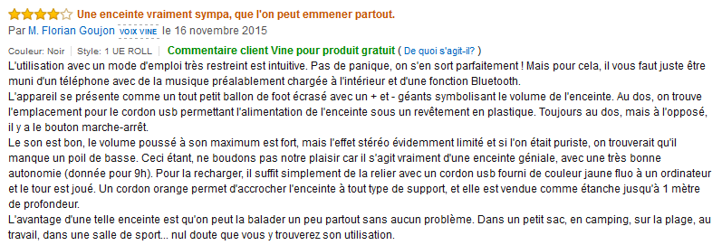 UE Roll commentaire client Amazon.fr