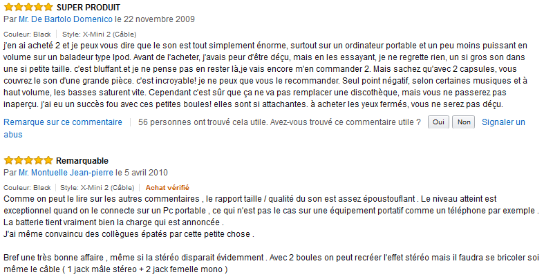 XMI - X-Mini II avis test client Amazon.fr